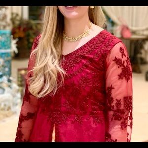 Red Floral Gown: Embroidered Lehenga Indian Dress